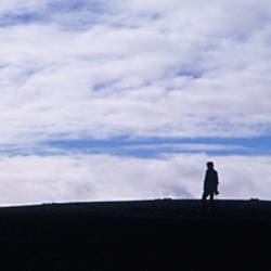 Silhouette of four tourists on a hill, Iceland
