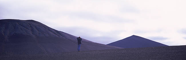 Person standing in a desert, Iceland