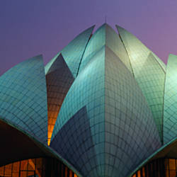 Temple lit up at dusk, Lotus Temple, Delhi, India