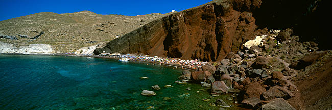Rocks near a beach, Kokini Amos Beach, Santorini, Greece