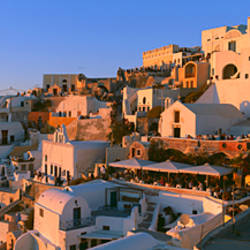 High angle view of buildings in a town, Oia, Santorini, Greece