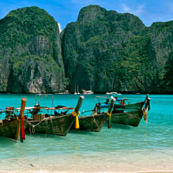 Longtail boats in the sea, Maya Bay, Phi Phi Le, Thailand