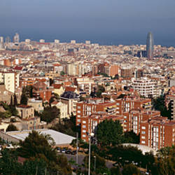High angle view of a city, Barcelona, Catalonia, Spain