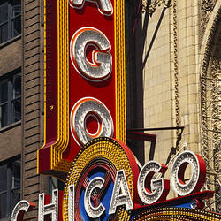 Close-up of a theater sign, Chicago Theater, Chicago, Illinois, USA