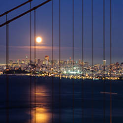 Suspension bridge lit up at night, Golden Gate Bridge, San Francisco, California, USA