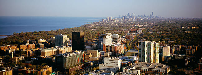 Aerial view of a city at the coast with Chicago in the background, Evanston, Illinois, USA