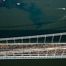 Aerial view of a crowd running on a bridge, New York City Marathon, New York City, New York, USA
