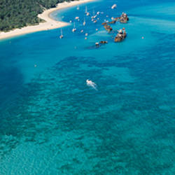 High angle view of shipwrecks, Tangalooma Wrecks, Moreton Island, Queensland, Australia