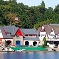 Boathouse Row at the waterfront, Schuylkill River, Philadelphia, Pennsylvania, USA