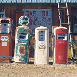 Abandoned fuel pumps in a row at a museum, Gasoline Alley Museum, Taos county, New Mexico, USA