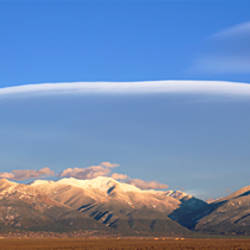 Lenticular clouds over a mountain range, Taos Mountains, Sangre de Cristo Range, New Mexico, USA