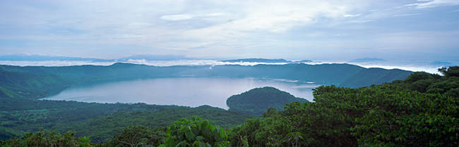 High angle view of a lake, Crater Lake, Cerro Verde National Park, El Salvador
