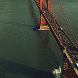 Aerial view of a bridge, Golden Gate Bridge, San Francisco, California, USA