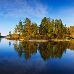 Reflection of trees in a lake, Lake Saimaa, Puumala, Finland
