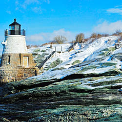 Lighthouse along the sea, Castle Hill Lighthouse, Narraganset Bay, Newport, Rhode Island, USA