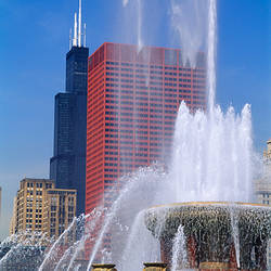 Fountain in a city, Buckingham Fountain, Chicago, Illinois, USA