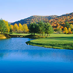 Lake on a golf course, The Raven Golf Club, Showshoe, West Virginia, USA