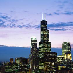 Cityscape at dusk, Chicago, Illinois, USA