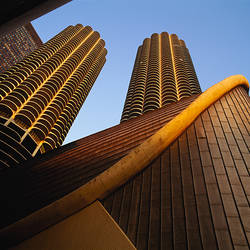 Low angle view of buildings, Marina Towers, Chicago, Illinois, USA