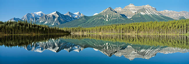 Refection of mountains in water, Canadian Rockies, Canada