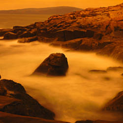 Waves breaking against rocks, Schoodic Peninsula, Acadia National Park, Maine, USA