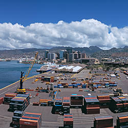 Cargo containers at a harbor, Honolulu, Oahu, Hawaii, USA 2007
