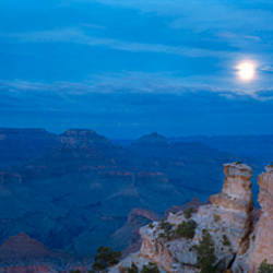 Rock formations at night, Yaki Point, Grand Canyon National Park, Arizona, USA