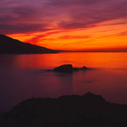 Panoramic view of the sea at dusk, Leo Carillo State Park, Malibu, Carillo, Los Angeles County, California, USA