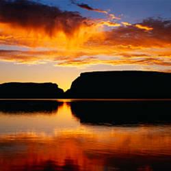 Silhouette of rocks at dusk, Lake Powell, Utah, USA