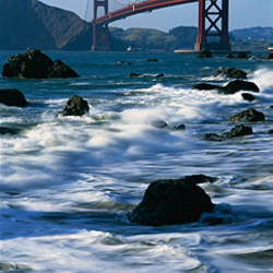 Bridge across the sea, Golden Gate Bridge, Baker Beach, San Francisco, California, USA