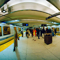 Large group of people at a subway station, Bart Station, San Francisco, California, USA