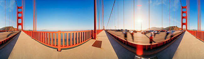 Group of people on a suspension bridge, Golden Gate Bridge, San Francisco, California, USA