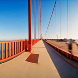 Group of people on a suspension bridge, Golden Gate Bridge, San Francisco, California, USA