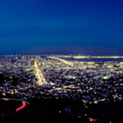 Aerial view of a city at night, San Francisco, California, USA