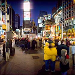 Group of people in a market, Times Square, Manhattan, New York City, New York State, USA