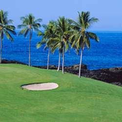Golf course at the oceanside, Kona Country Club Ocean Course, Kailua Kona, Hawaii, USA