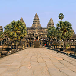 Path leading towards an old temple, Angkor Wat, Siem Reap, Cambodia