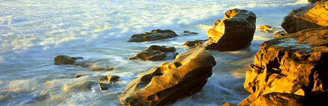 Rock formations on the beach, La Jolla, California, USA