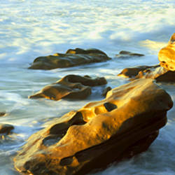 Rock formations on the beach, La Jolla, California, USA