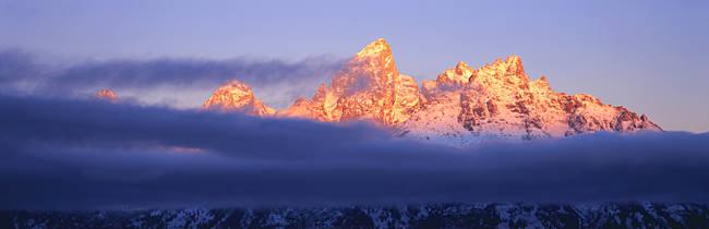 Snowcapped mountains at dawn, Grand Teton National Park, Wyoming, USA