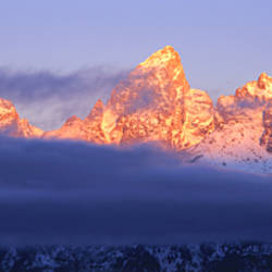Snowcapped mountains at dawn, Grand Teton National Park, Wyoming, USA