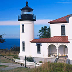 Lighthouse beside a building, Admiralty Head Lighthouse, Admiralty Inlet, Fort Casey State Park, Whidbey Island, Washington State, USA