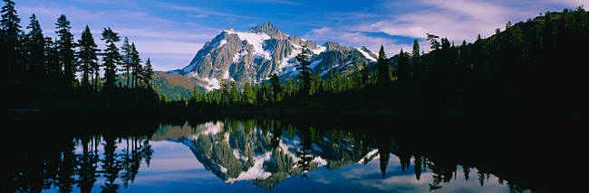 Reflection of a mountain range in a lake, Mt Shuksan, Mt Baker-Snoqualmie National Forest, Washington State, USA
