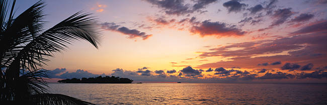 Panoramic view of sea at dusk, Negril, Jamaica