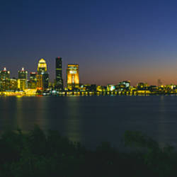 Buildings lit up at dusk, Ohio River, Louisville, Kentucky, USA