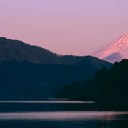 Lake in front of mountains, Lake Ashinoko, Mt Fuji, Hakone, Kanagawa Prefecture, Japan