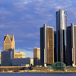 Skyscrapers at the waterfront, Detroit, Michigan, USA