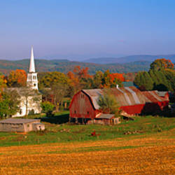 Church and a barn in a field, Peacham, Vermont, USA