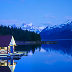 Boathouse at the lakeside, Maligne Lake, Jasper National Park, Alberta, Canada