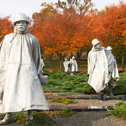 Statues of army soldiers in a park, Korean War Memorial, Washington DC, USA